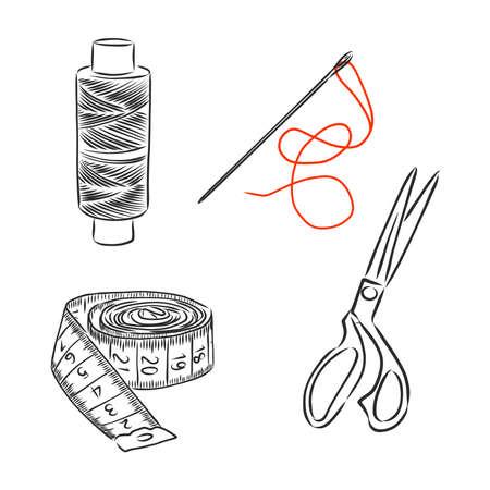 sewing kit doodle, sewing tools vector sketch illustration Illustration