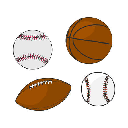 vector sketch illustration - sport balls: basketball, rugby, baseball, sports balls, rugby, baseball, basketball, vector sketch on white background