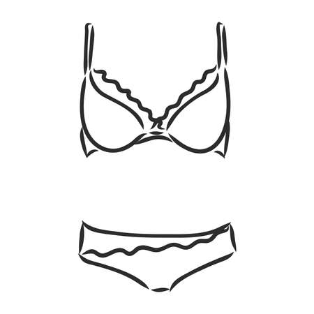 black lace lingerie. Underwear with lace flowers.High fit cowards. Vector hand drawn illustration. collection of Lace underclothes. underwear, vector sketch on a white background
