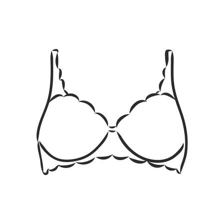 Hand Drawn Womens Bra Sketch Symbol isolated on white background. Vector lacy bra In Trendy Style. Womans underwear hand drawing sketches elements
