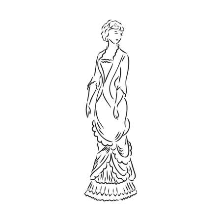 Antique dressed lady. Old fashion vector illustration. Victorian woman in historical dress. Vintage stylized drawing, retro woodcut style