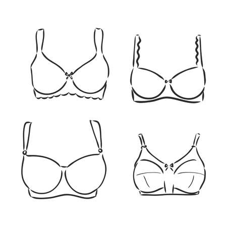 Hand Drawn Womens Bra Sketch Symbol isolated on white background. Vector lacy bra In Trendy Style. Womans underwear hand drawing sketches elements Vetores
