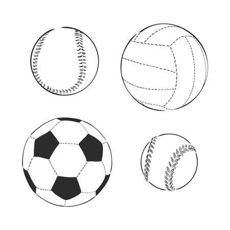 vector sketch illustration - sport balls: football, volleyball, baseball
