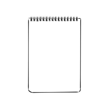 Sketch of notebook. Vector illustration with hand drawn leaf of notebook. Clip art. Notepad with clear page Vector Illustratie