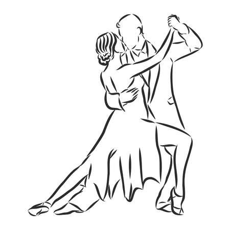 couple of latin dancers, vector sketch illustration
