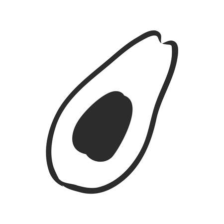 Avocado slice Vector hand drawn vector illustration. Tropical summer fruit engraved style. Detailed food drawing. Great for label, poster, print. Black isolated on white background