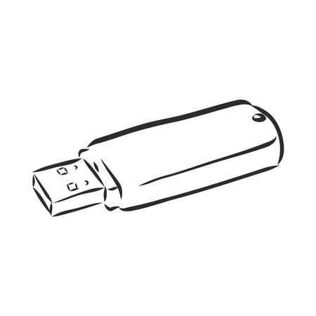 Technology sketch icon set for web, mobile and infographics. Hand drawn technology icon set. Technology vector icon set. flash card vector sketch on white background Ilustração