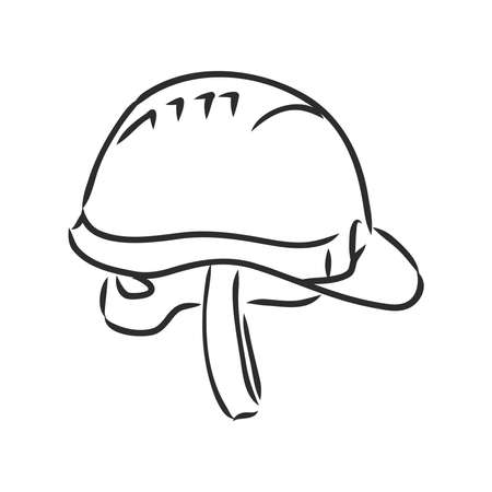 industry helmet vector and illustration, black and white, hand drawn, sketch style, isolated on white background.