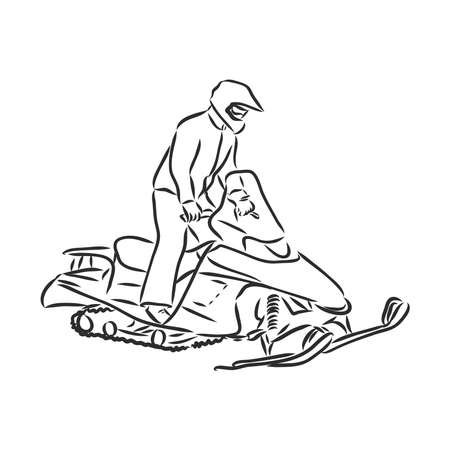 isolated illustration of a rider on a snow scooter , black and white drawing, white background