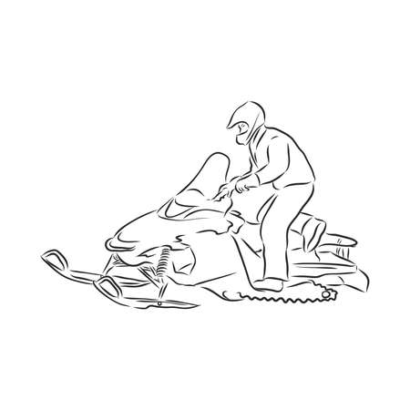isolated illustration of a rider on a snow scooter , black and white drawing, white background snowmobile vector sketch on white background
