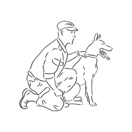 Man cartoon character giving command or order to his dog, sketch vector illustration isolated on white background. Man teaching and training a pet to understand command. Ilustração