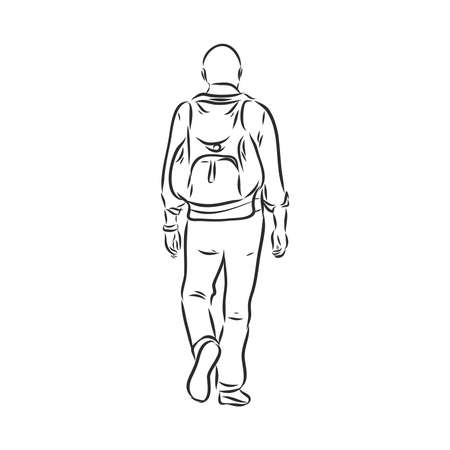 Woman traveler with backpack in continuous line art drawing style. Hiking and camping activity. Black linear sketch isolated on white background. Vector illustration