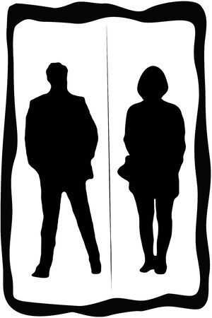 dividing line: Toilet sign with man and woman with dividing line