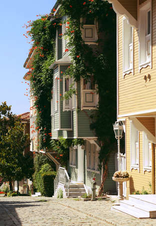 southern europe: Street of a town in South Europe with nice houses