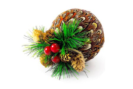 christmasball: christmas-ball with cones and cranberries isolated Stock Photo