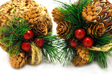2 christmas-balls with cones and cranberries isolated Stock Photo - 5943326