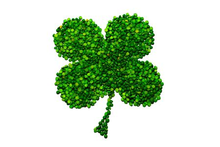 four objects: four-leaf lucky clover made of peas isolated over white background