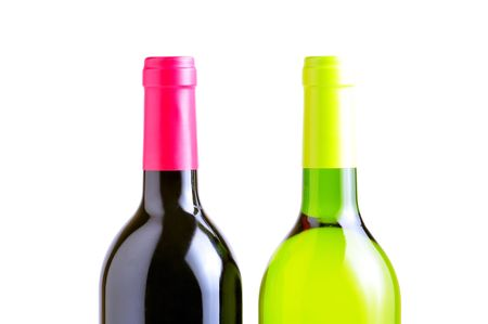 two bottles of red and white whine isolated photo