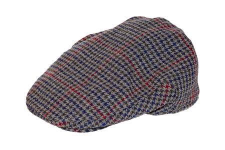 Retro Wool tweed gentlemans cap isolated over white photo