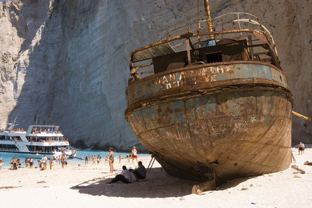 The famous Shipwreck Bay on the greek island Zakynthos