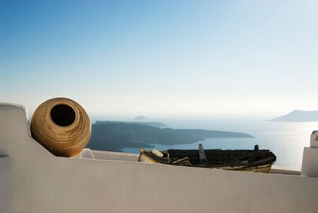 View over the Aegean Sea, Santorini, Greece photo