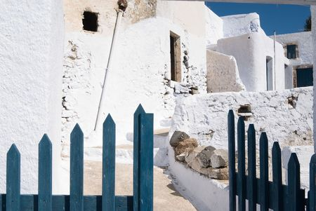 firostefani: The old village of Pyrgos, Santorini, Greece Stock Photo