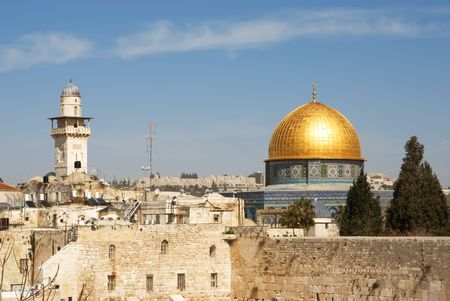 The wailing wall and the mousque of Al-aqsa