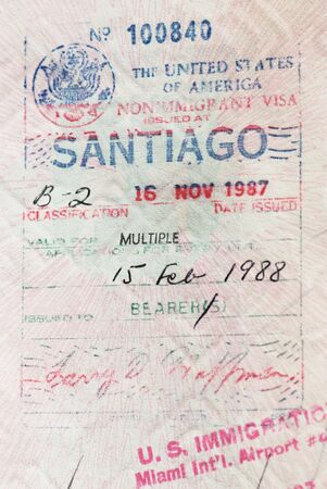 issued: Visa to the United States issued at Santiago de Chile Stock Photo