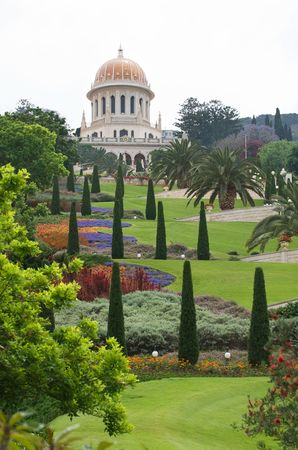 bahaullah: The garden of the Bahai temple in Haifa Stock Photo
