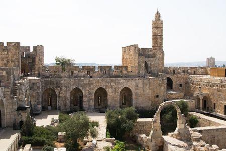 jerusalem: The tower of David in Jerusalem and its yard