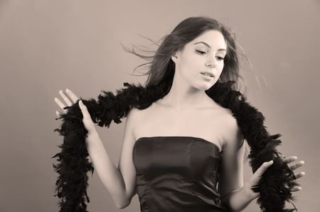 Woman with feather boa photo