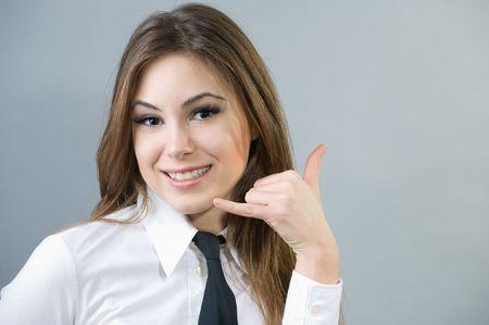 Beautiful business woman making a Stock Photo - 4249284