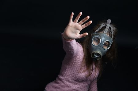 Protesting in gas mask photo