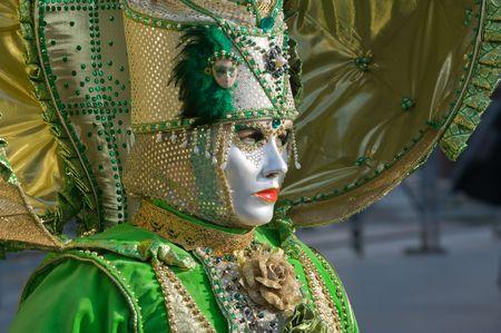 Beautiful venetian woman at the carnival photo