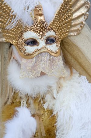 purim mask: Beautiful venetian woman at the carnival Stock Photo