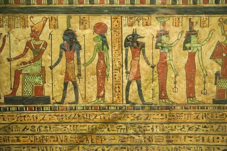 tumbas: Los jerogl�ficos egipcios en papiro Foto de archivo