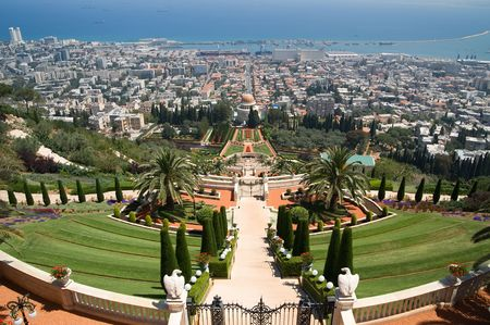 The temple of Bahai in Haifa, Israel Stock Photo