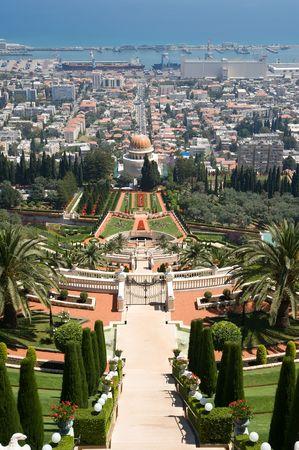 bahaullah: View over Haifa and the temple of Bahai Stock Photo