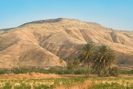in the heights: Mountains of the Golan Heights in Israel Stock Photo