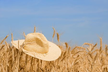 cropcircle: Time for harvest - field of wheat with a straw hat