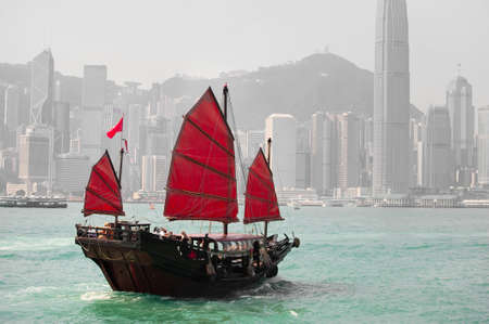 hong kong harbour: Hong Kong famous junk boat Stock Photo