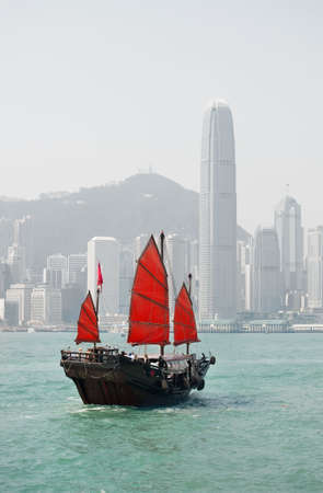 Hong Kong famous junk boat photo