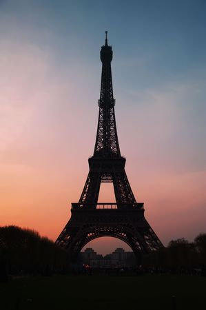 The Eiffel tower in beautiful sunset photo