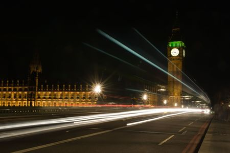 clocktower: London night traffic in motion blur