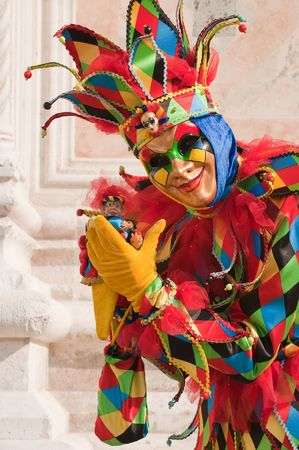 harlequin clown in disguise: Carnival in Venice