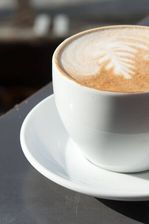 angle bar: Fresh cup of cappuccino Stock Photo
