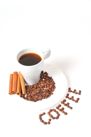 Coffee beans with a white mug on white background