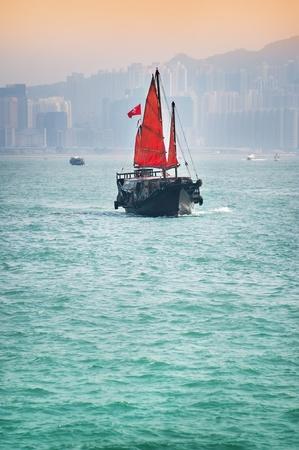 Traditional junk boat in Hong kong photo
