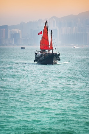 Traditional junk boat in Hong kong