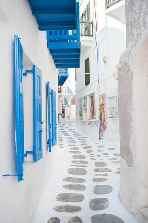 Greek alley in the Cycladic island photo